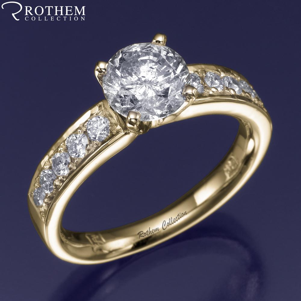 Real 0 90 Carat N Si1 Yellow Gold Side Stone Diamond