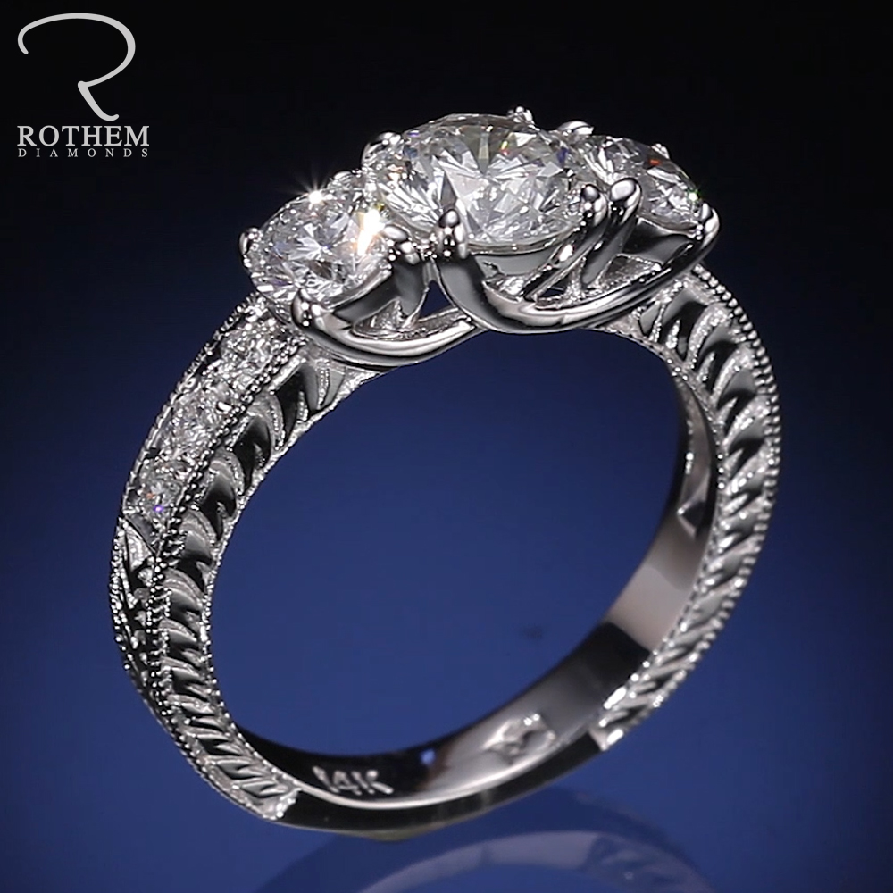 Vintage 1 66 ct Rothem I I1 Three Stone Diamond Engagement Ring Gold