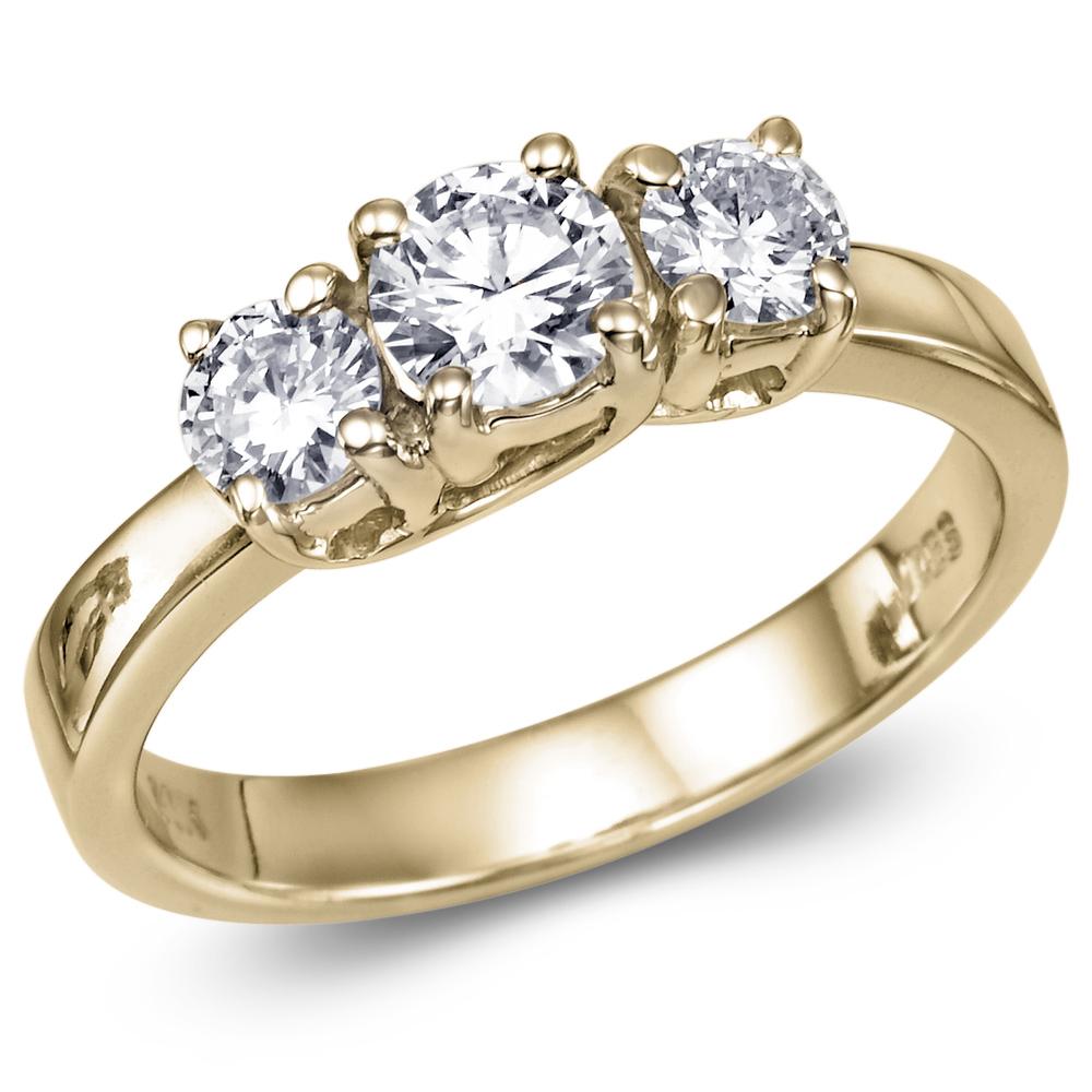 1 19 carat H I2 Three Stone Diamond Engagement Ring Yellow Gold
