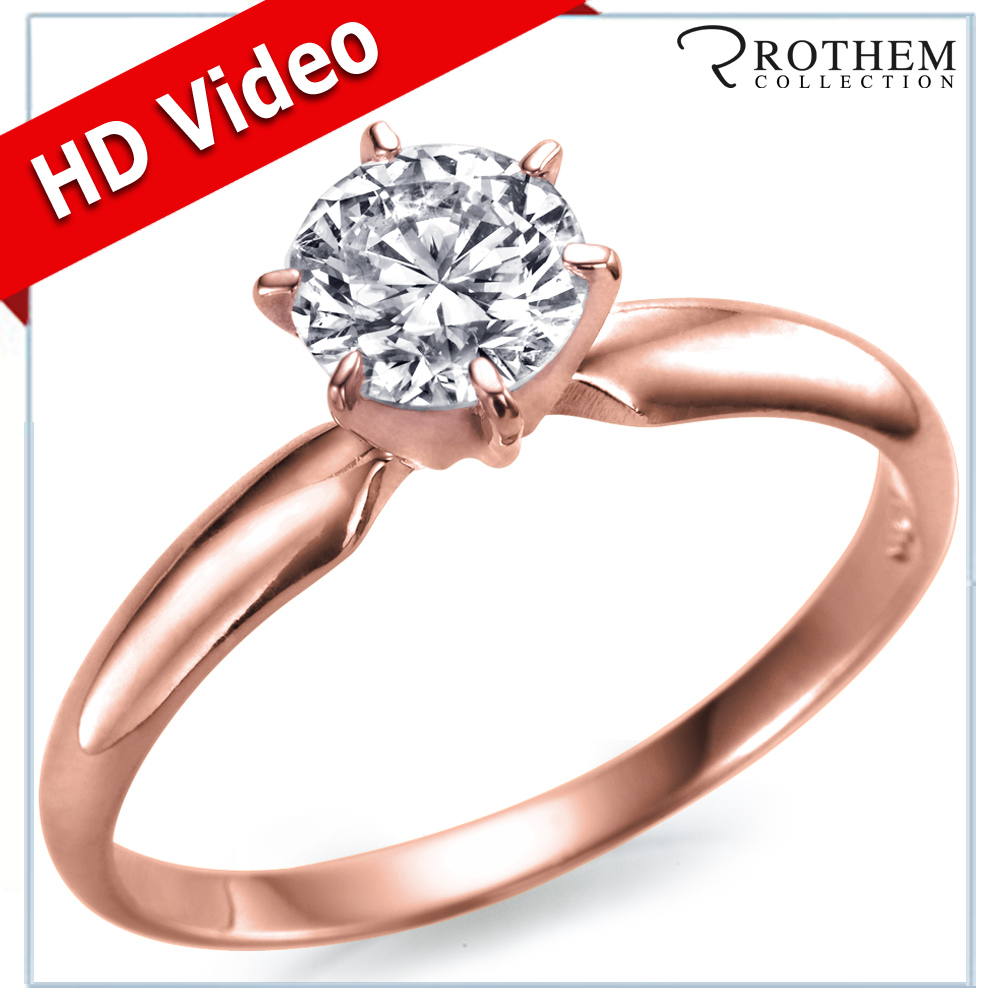 0.30 CT GIA F SI1 Solitaire Diamond Engagement Ring 14k Rose Gold 10440255