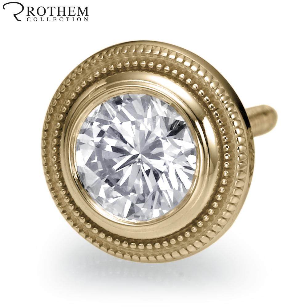mens carat l i2 milgrain bezel diamond stud earring. Black Bedroom Furniture Sets. Home Design Ideas
