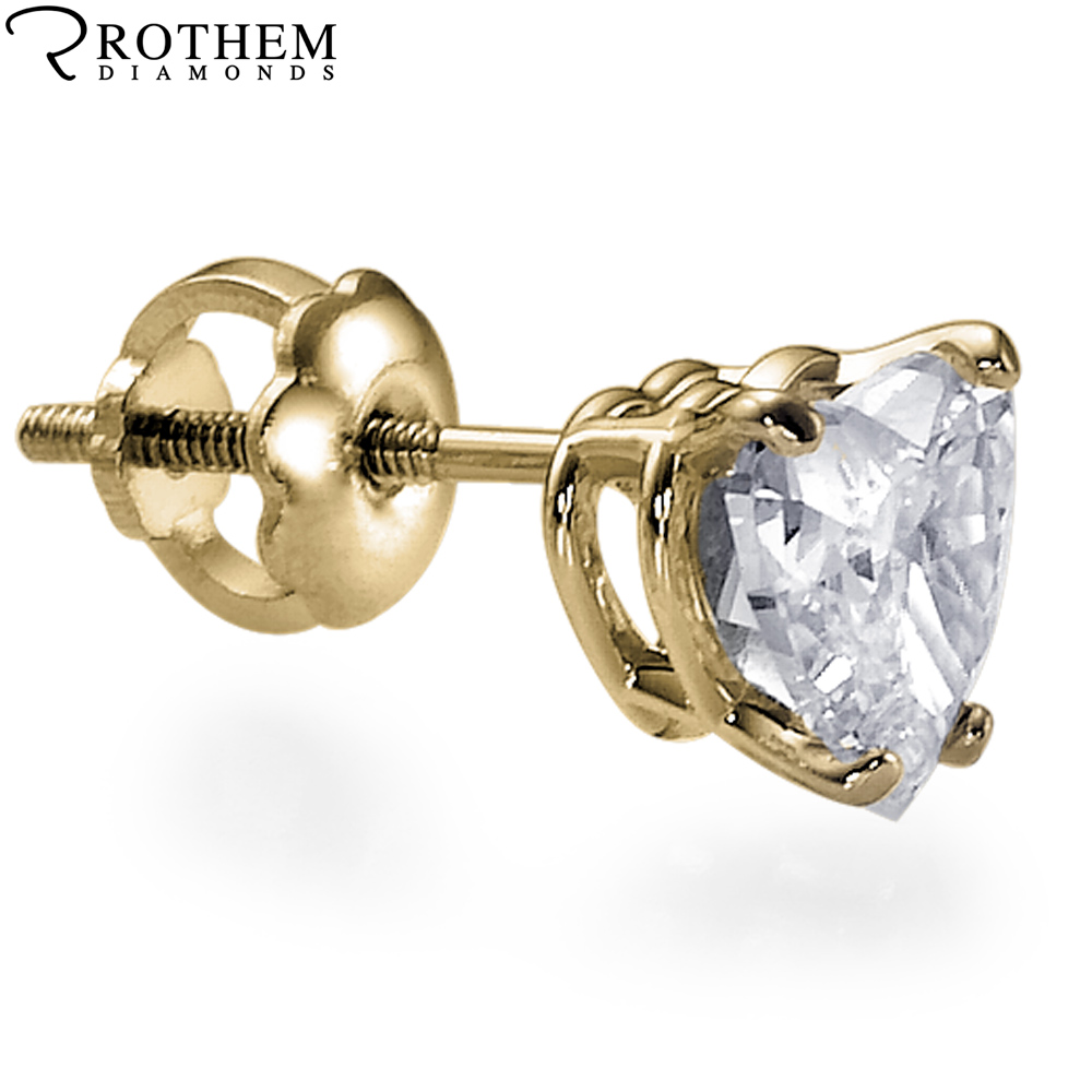single yellow gold heart shape diamond stud earring 024