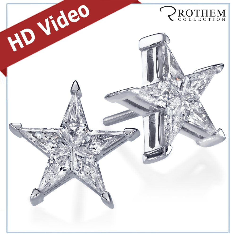 stunning carat white gold star shaped diamond stud. Black Bedroom Furniture Sets. Home Design Ideas