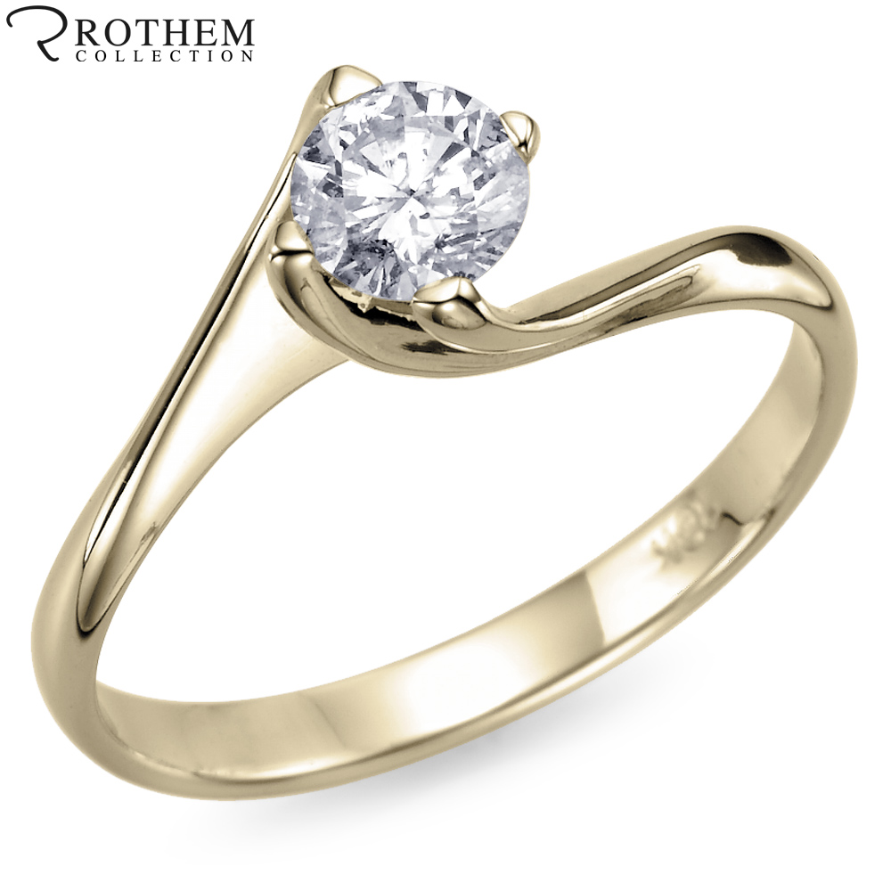 real yellow gold engagement ring 0 57 carat k i2
