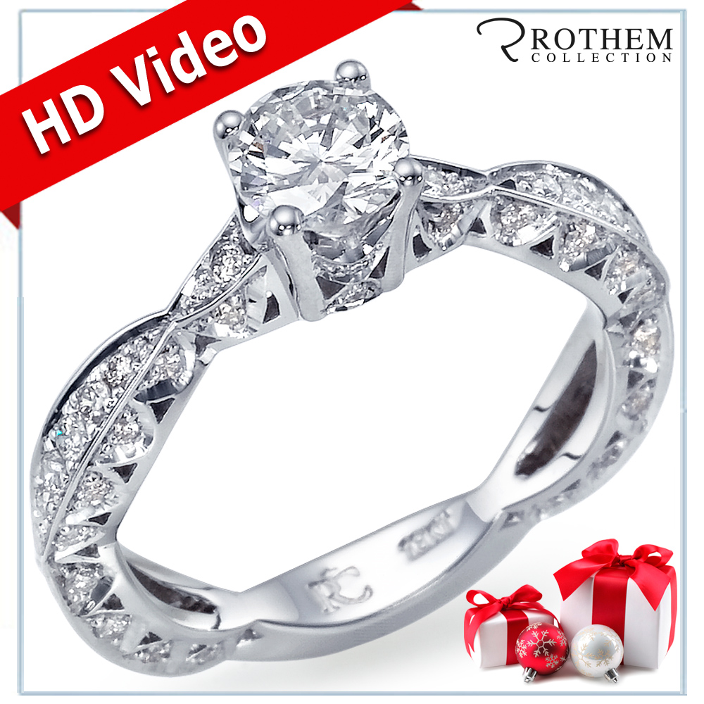 Xmas Gift On Sale 0.90 CT GIA Diamond Engagement Ring 14K White Gold 08840255