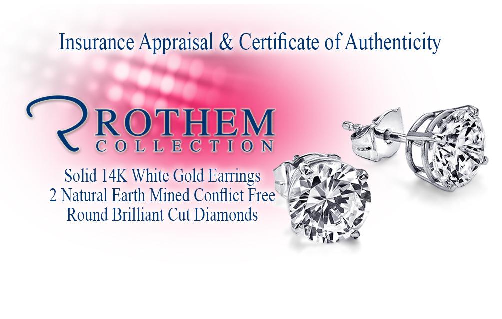 ct diamond stud earrings 14k white gold e i3. Black Bedroom Furniture Sets. Home Design Ideas