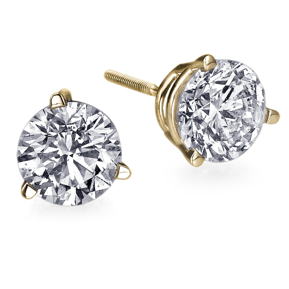 Solid 0.90 Ct Round Cut Diamond Stud Earrings 14K Yellow Gold Over Jewelry Gift