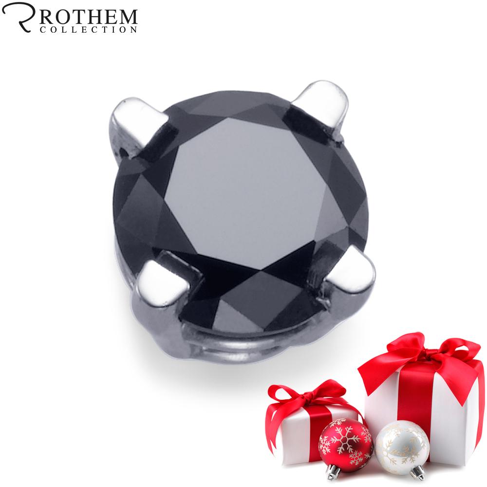 Single Black Diamond Stud Earring For Men