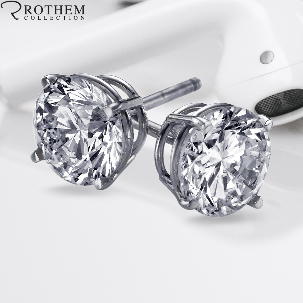 Round Solitaire Diamond Earrings
