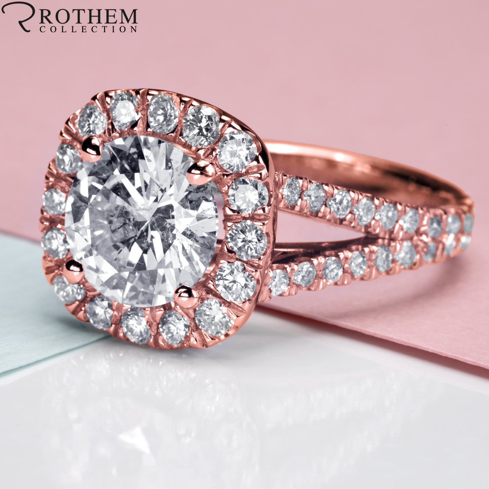 3.52 CT I1 Round Cut Cushion Halo Diamond Engagement Ring Rose Gold ...