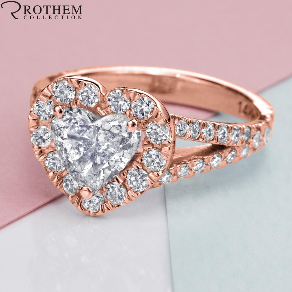 Womens 2 11 Ct I2 Heart Halo Diamond Engagement Ring Rose Gold