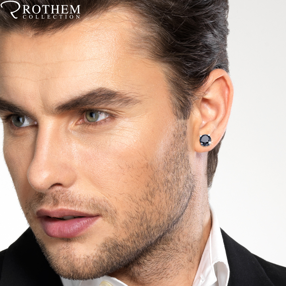 Single Black Diamond Stud Earring For Men