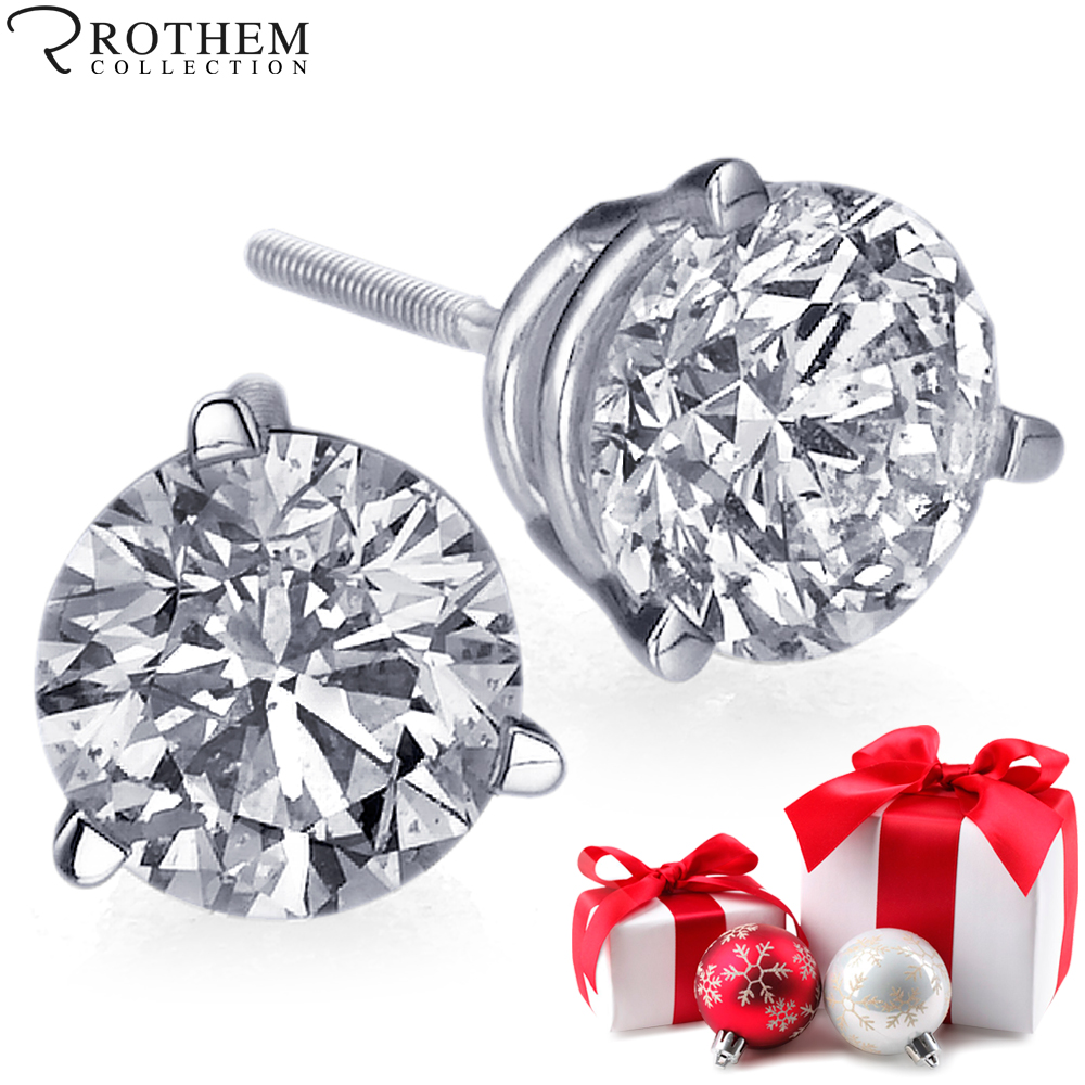 brilliant stud pin back push solitaire diamond round earrings shape prong carat